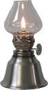 1109 Oil lamp, brush finish - mini burner victorian chimney 5in high