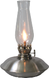 1117 Oil lamp, brush finish mini burner florentine chimney 7in high